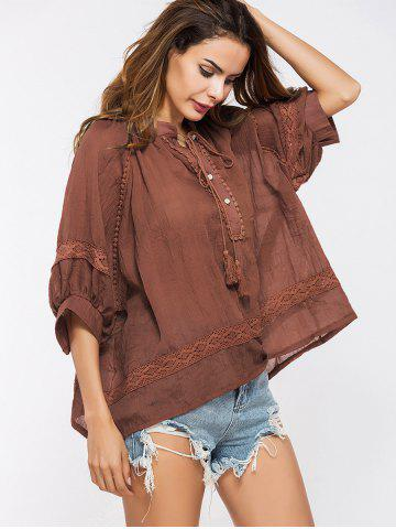 Trendy Lace Insert Tassels Sheer Oversized Top - ONE SIZE DEEP RED Mobile