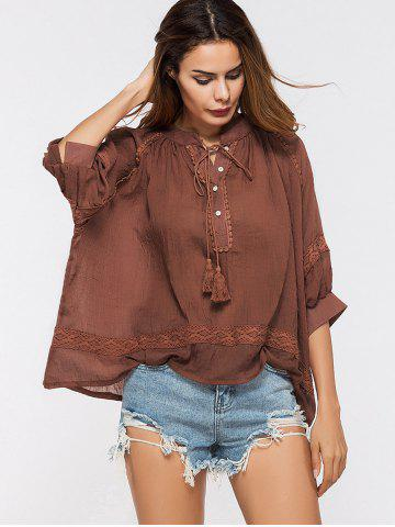 Fancy Lace Insert Tassels Sheer Oversized Top - ONE SIZE DEEP RED Mobile