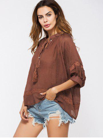 Buy Lace Insert Tassels Sheer Oversized Top - ONE SIZE DEEP RED Mobile