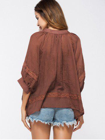 Unique Lace Insert Tassels Sheer Oversized Top - ONE SIZE DEEP RED Mobile