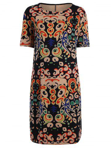 Hot Plus Size Funny Printed Knee Length T-shirt Dress