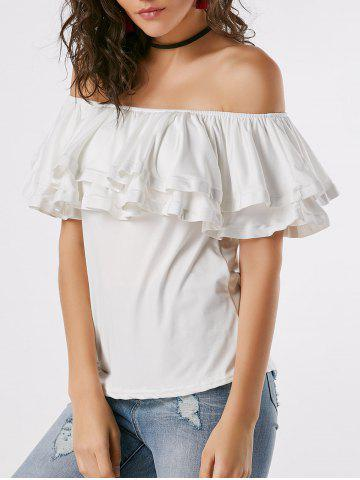 Outfit Ruffle Layered Off Shoulder Blouse WHITE S
