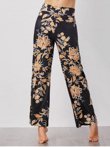 High Waist Floral Print Palazzo Pants - Black - Xl