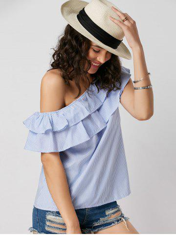 Unique Layer Flounce Striped Skew Collar Blouse - M BLUE STRIPE Mobile