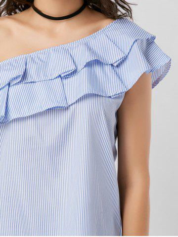 Shops Layer Flounce Striped Skew Collar Blouse - M BLUE STRIPE Mobile