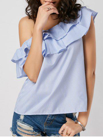 Latest Layer Flounce Striped Skew Collar Blouse - M BLUE STRIPE Mobile