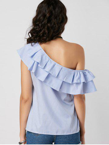 Best Layer Flounce Striped Skew Collar Blouse - M BLUE STRIPE Mobile
