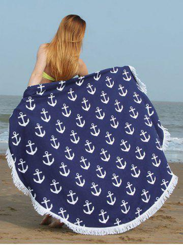 Fringed Trim Anchor Print Round Beach Towel - Purplish Blue - S