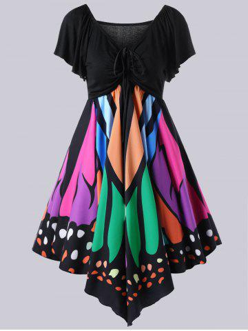 Online Plus Size Empire Waist Butterfly Pattern Dress BLACK AND GREEN XL