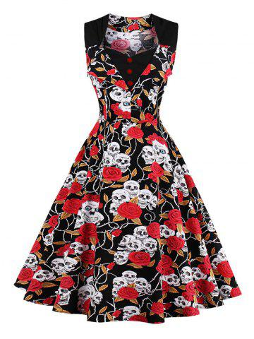 Cheap Skull Print Vintage Skater Dress - S RED Mobile