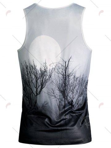 Chic Ombre Plant 3D Moon Print Tank Top - L WHITE Mobile