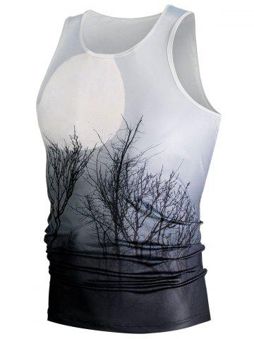 Fashion Ombre Plant 3D Moon Print Tank Top - L WHITE Mobile
