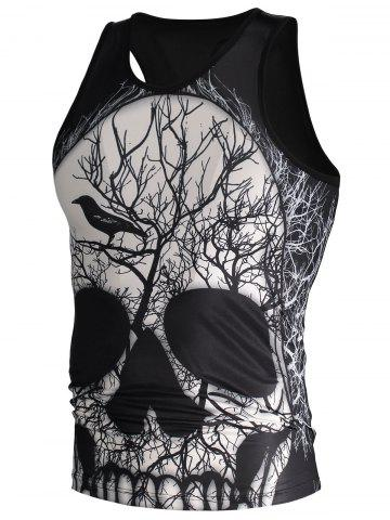 Chic 3D Deadwood and Skull Print Tank Top - M BLACK Mobile