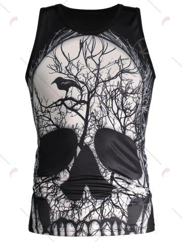 Best 3D Deadwood and Skull Print Tank Top - 2XL BLACK Mobile