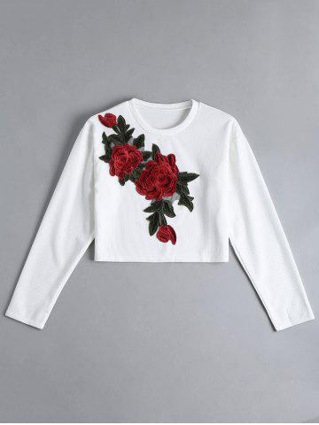 Fancy Ribbed Cropped Floral Embroidered Top WHITE S