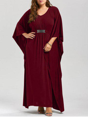 Buy Plus Size Kaftan Maxi Dress - XL WINE RED Mobile