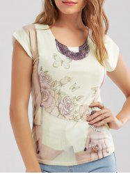 Floral 3D Print Casual Top