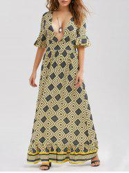 Low Cut Printed Floor Length Dress