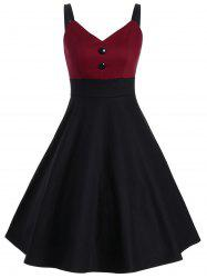 Boutons Two Tone Vintage Slip Dress - Rouge Vineux