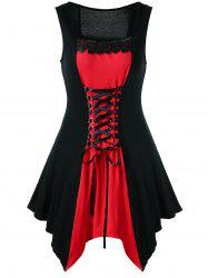 Plus Size Lace Panel Lace Up Sleeveless Dress - RED WITH BLACK
