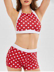 Polka Dot High Waisted Halter Crop Top Bikini