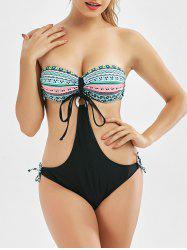 Tribal Print Strapless Underwire Monokini Swimsuit