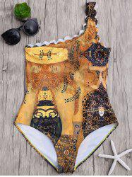 One Shoulder Scalloped One Piece Swimsuit
