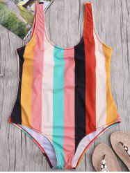One Piece Colorful Stripe Backless Swimsuit