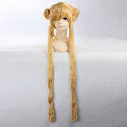 Anime Straight Side Bang Long Bunches Costume Sailor Moon Cosplay Wig - YELLOW