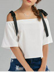 Bowknot Chiffon Cold Shoulder Top -