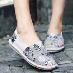 Cartoon Espadrille Slip On Canvas Shoes