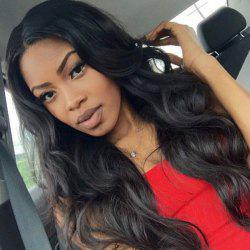Perm Dyed Middle Parting Body Wave Long Synthetic Wig - JET BLACK 01#
