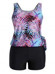 Plus Size Tropical Leaves Print Blouson Tankini
