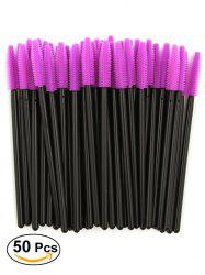 50 Pcs/Pack Disposable Silicone Eye Brow Groomer Brushes - PURPLE