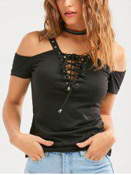 Lace Up Cold Shoulder Short Sleeve T-Shirt - BLACK
