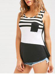 Front Pocket Color Block Striped Tank Top - WHITE AND BLACK
