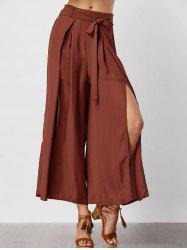 Slit Wide Leg Pants - ORANGE RED