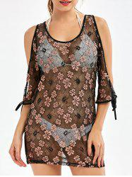 Split Sleeve Floral Sheer Mesh Swimsuit Tunic Cover Up Dress