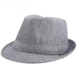 Retro Plaid Ribbon Fedora Hat - GRAY