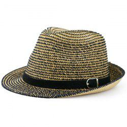 Woven Fedora Hat with Ribbon - COFFEE