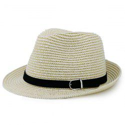 Woven Fedora Hat with Ribbon - LIGHT KHAKI