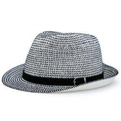 Woven Fedora Hat with Ribbon - WHITE