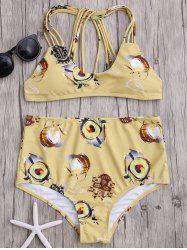 High Waisted Print Straps Bikini Set