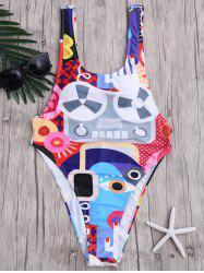 Abstract Print One Piece Backless Swimwear