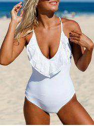 Plunging Cross Back Lace-Up Swimsuit