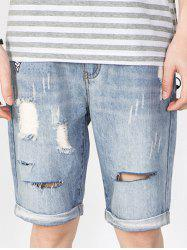 Scratch Design Applique Faded Ripped Jean Shorts