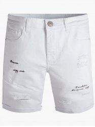Graphic Embroidered Zipper Fly Ripped Jean Shorts