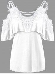 Overlay Dew Shoulder Applique T-shirt - WHITE