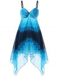 Empire Waist Ombre Handkerchief Dress - Bleu