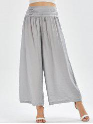 High Waisted Button Design Palazzo Pants - LIGHT GREY